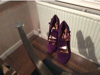 Purple and gold shoes
