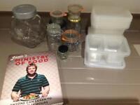 Jamie Oliver Cookbook, Kitchen Scales & large selection of storage jars/Tupperware