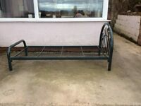 Green metal single bed frame.sound condition.a few marks on paintwork