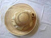 Beautiful straw and cream ladies formal hat