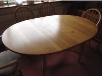ORIGINAL GENUINE ERCOL SAVILLE EXTENDING DINING TABLE PLUS 6 MATCHING CHAIRS, EXCELLENT CONDITION!