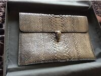 Auth Alexander McQueen Python exotic leather envelope clutch with silver skull