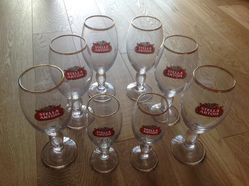 Highly Collectible - Set of 8 Stella Artois glasses (gold rim)