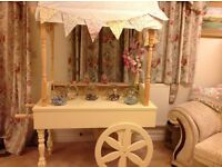 Beautiful cream candy cart to hire and sweet jars. £35.