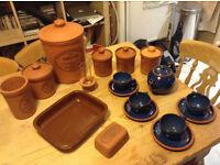 Henry Watson Original Suffolk Terracotta Pottery Ware Teapot Crockery Storage Containers