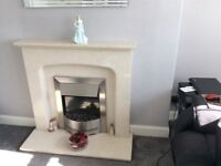 Marble Fireplace c/w Electric Fire & Hearth
