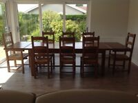 Distressed Oak Dining Table, Chairs & French Reproduction Sideboard