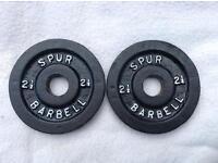 2 x 2.5lb Spur Standard Cast Iron Weights