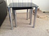 Black Gl Nest Of Tables Set 2