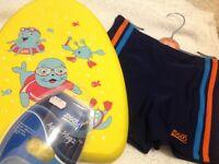 Beginners Float, swim trunks, ear protectors