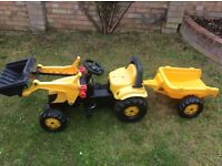 Child's jcb tractor with front loader & trailer for age 2 1/2+