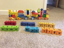 Wooden brick train/ wooden alphabet bricks / blocks