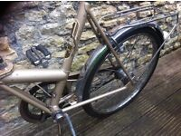 retro foldable golden raleigh camping bike