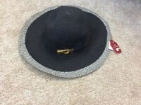 black and gold large brim summer hat by Dents - new