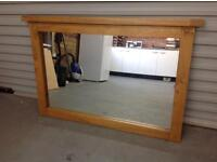 Solid oak framed wall mirror