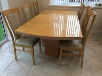 Wooden table and six chairs £100