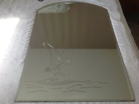 Bevelled edge mirror with etching of bird of prey catching a fish