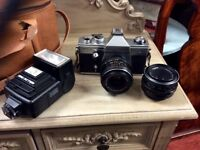 Vintage camera with accessories