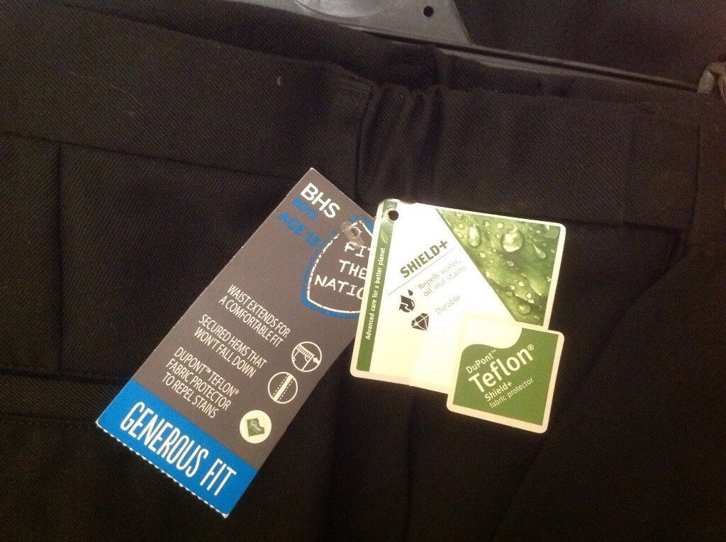 2 pairs - Boys Black School Trousers: Age 13 Generous Fit. Teflon coated. BRAND NEW, labelled.