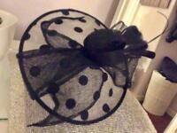 Fabulous Polka dot saucer fascinator band black silver with white underneath new wedding races