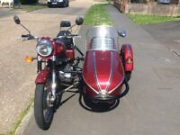 2004 Royal Enfield 500 bullet 65 with colour coded Watsonian sidecar. 5255kms immaculate condition