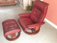 "STRESSLESS ""THE MAYFAIR"" leather reclining chair& footstool. Excellent condition real leather."