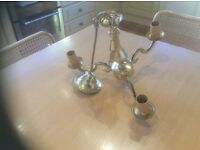 Brass candle effect light fitting