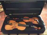 English Handmade Violin, Viola and Bam Double Case!