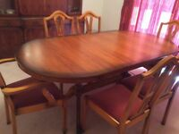 Dining table and 6 chairs in Solid wood(Yew)