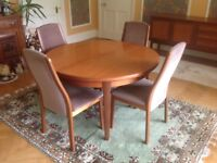 1973 Vintage Retro Dining Suite with Sideboard, Extending Table and four chairs