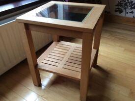 Marks & Spencer solid oak & glass lamp / side table