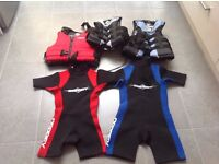 child's wet suits and buoyancy aids x5 age 7-8 11-12