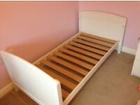 Cot bed with duvet and bedding (mattress if required)