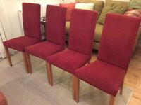 4 Red fabric M&S dining chairs in excellent condition