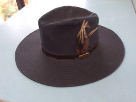 Barbour navy wax wide brim hat - D596 - size M