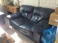 TWO LEATHER SETTEES. NAVY. FREE