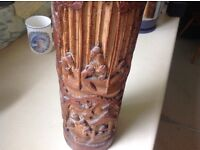Bamboo chineese 1920's or early 20 th C painting brush holder