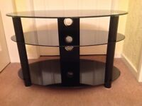 """Alphason curved glass 37"""" TV stand - all black"""