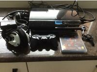 PS3 with controller/headset and extras