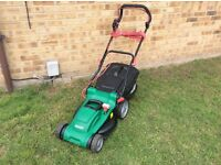 """LARGE 37CM QUALCAST ELECTRIC CORDED ROTARY LAWNMOWER / LAWN MOWER 8"""" BACK WHEELS"""
