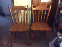 Two, Solid, Honey Pine Chairs