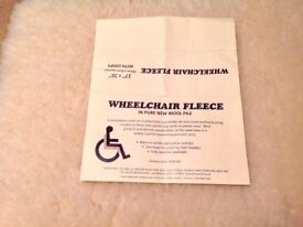 WHEELCHAIR FLEECE IN PURE NEW WOOL WITH LOOPS SIZE 17ins x 36ins