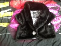Black furry bolero for 6-8 year old