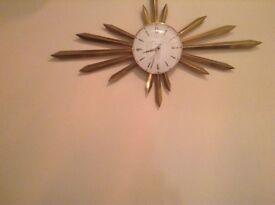 Retro sun burst clock