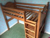 Solid Pine Cabin Bed with matching Wardrobe and Chest of Drawers/Desk