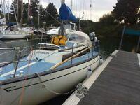 Sailing Cruiser 28' bilge keel copper btm 5 berth inboard +outboard liferaft dinghy lot of gear