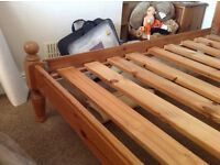 Antique Waxed Pine double bed frame with wooden mattress Slats