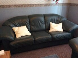 Dark green Leather suite good condition