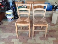 2 Pine Dining Chairs with Wicker Seats