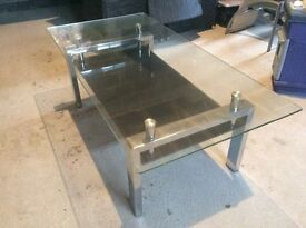 Glass coffee table and matching lamp table